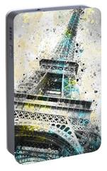 City-art Paris Eiffel Tower Iv Portable Battery Charger by Melanie Viola