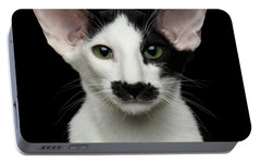 Closeup Funny Oriental Shorthair Looking At Camera Isolated, Bla Portable Battery Charger by Sergey Taran