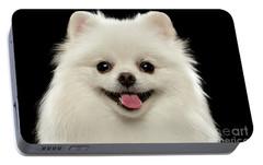 Closeup Portrait Of  White Spitz Dog On Black  Portable Battery Charger by Sergey Taran