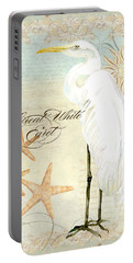 Coastal Waterways - Great White Egret 3 Portable Battery Charger by Audrey Jeanne Roberts