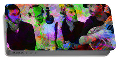 Coldplay Band Portrait Paint Splatters Pop Art Portable Battery Charger by Design Turnpike