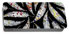 Colorful Black And White Leaves Portable Battery Charger by Susanne Kasielke