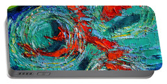 Colorful Koi Fishes In Lily Pond Portable Battery Charger by Mona Edulesco