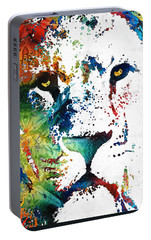 Colorful Lion Art By Sharon Cummings Portable Battery Charger by Sharon Cummings