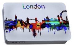 Colorful London Skyline Silhouette Portable Battery Charger by Dan Sproul