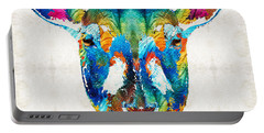 Colorful Sheep Art - Shear Color - By Sharon Cummings Portable Battery Charger by Sharon Cummings