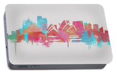 Colorful Sydney Skyline Silhouette Portable Battery Charger by Dan Sproul