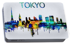 Colorful Tokyo Skyline Silhouette Portable Battery Charger by Dan Sproul
