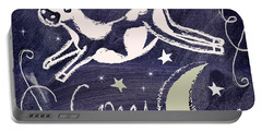 Cow Jumped Over The Moon Chalkboard Art Portable Battery Charger by Mindy Sommers