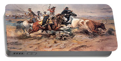 Cowboys Roping A Steer Portable Battery Charger by Charles Marion Russell