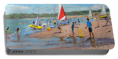 Cricket And Red And White Sail Portable Battery Charger by Andrew Macara