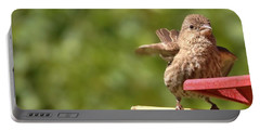 Crossbill Female At Feeder        Summer       Indiana Portable Battery Charger by Rory Cubel
