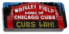 Cubs Win Wrigley Field Chicago Illinois Recycled Vintage License Plate Baseball Team Art Portable Battery Charger by Design Turnpike