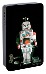 Cute 1970s Robot On Black Background Portable Battery Charger by Jorgo Photography - Wall Art Gallery