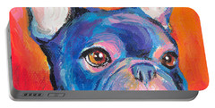 Cute French Bulldog Painting Prints Portable Battery Charger by Svetlana Novikova