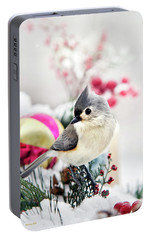 Cute Winter Bird - Tufted Titmouse Portable Battery Charger by Christina Rollo