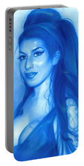 Amy Winehouse - ' Daddy's Girl ' Portable Battery Charger by Christian Chapman Art