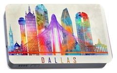Dallas Landmarks Watercolor Poster Portable Battery Charger by Pablo Romero