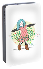 Dancing With Leaves Portable Battery Charger by Carolina Parada