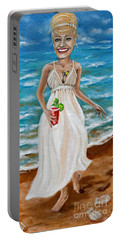Dee With Her Bloody Mary Portable Battery Charger by Leandria Goodman