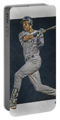 Derek Jeter New York Yankees Art 2 Portable Battery Charger by Joe Hamilton