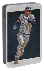 Derek Jeter New York Yankees Art 3 Portable Battery Charger by Joe Hamilton