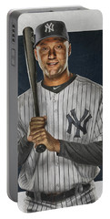 Derek Jeter New York Yankees Art Portable Battery Charger by Joe Hamilton