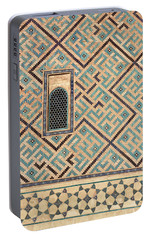 Detail Of Window And Geometric Patterns On Khoja Ahmed Yasawi Ma Portable Battery Charger by Reimar Gaertner