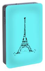 Digital-art Eiffel Tower Portable Battery Charger by Melanie Viola