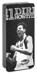 Dirk Nowitzki Portable Battery Charger by Semih Yurdabak