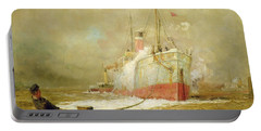 Docking A Cargo Ship Portable Battery Charger by William Lionel Wyllie