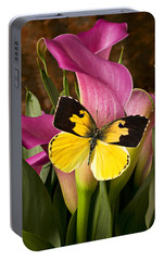 Dogface Butterfly On Pink Calla Lily  Portable Battery Charger by Garry Gay