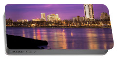 Downtown Tulsa Oklahoma - University Tower View - Purple Skies Portable Battery Charger by Gregory Ballos