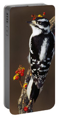 Downy Woodpecker On Tree Branch Portable Battery Charger by Panoramic Images