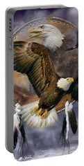 Dream Catcher - Spirit Eagle Portable Battery Charger by Carol Cavalaris