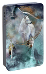Dream Catcher - Spirit Of The White Wolf Portable Battery Charger by Carol Cavalaris