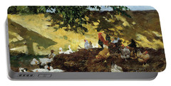 Ducks And Chickens In A Farmyard Portable Battery Charger by Tina Blau-Lang