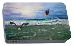 Eagles At Sea Wildlife Art Portable Battery Charger by Jai Johnson