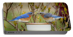 Early Bird Breakfast For Two Portable Battery Charger by Bill Pevlor