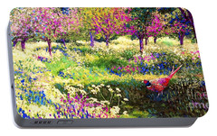 Echoes From Heaven, Spring Orchard Blossom And Pheasant Portable Battery Charger by Jane Small