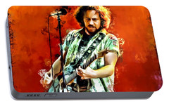 Eddie Vedder Painting Portable Battery Charger by Scott Wallace