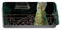 Elegant Peacock Iron Fence W Vintage Scrolls 4 Portable Battery Charger by Audrey Jeanne Roberts