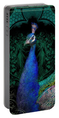 Elegant Peacock W Vintage Scrolls  Portable Battery Charger by Audrey Jeanne Roberts