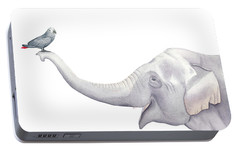 Elephant And Bird Watercolor Portable Battery Charger by Taylan Apukovska