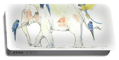 Elephant And Parrots Portable Battery Charger by Juan Bosco