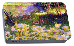 Enchanted By Daisies, Modern Impressionism, Wildflowers, Silver Birch, Aspen Portable Battery Charger by Jane Small