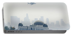 Endeavor Space Shuttle And Griffith Observatory Portable Battery Charger by Pd