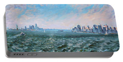 Entering In New York Harbor Portable Battery Charger by Ylli Haruni