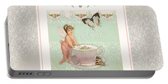 Fairy Teacups - Flutterbye Butterflies And English Rose Damask Portable Battery Charger by Audrey Jeanne Roberts