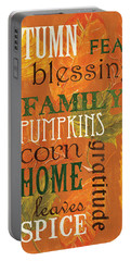 Fall Typography 1 Portable Battery Charger by Debbie DeWitt